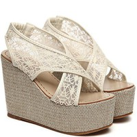 Wholesale Korea classical summer platform wedge CZ-0737 white - Lovely Fashion