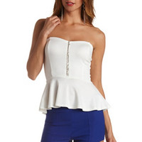 BEADED STRAPLESS PEPLUM TOP