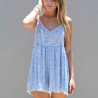PROMISED LAND PLAYSUIT , DRESSES, TOPS, BOTTOMS, JACKETS & JUMPERS, ACCESSORIES, 50% OFF SALE, PRE ORDER, NEW ARRIVALS, PLAYSUIT, COLOUR, GIFT VOUCHER,,Blue,Print,JUMPSUIT,SLEEVELESS,MINI Australia, Queensland, Brisbane