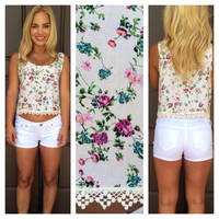 Charity Floral & Crochet Tank