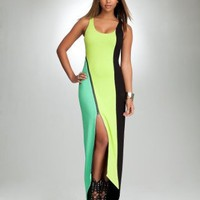 Cutout Colorblock Maxi Dress - bebe Addiction