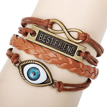 Romantic Best Friend Eye Infinity  Rope Weave Bracelet