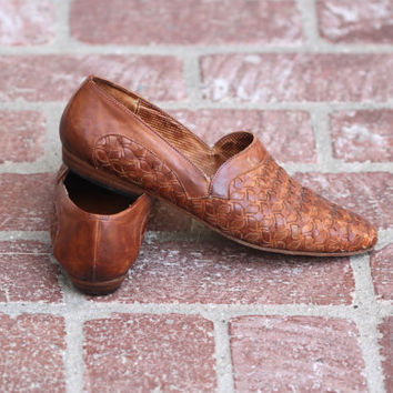 Vintage 90s Southwestern // Patina Leather Woven Loafers // Brown Cognac // Sesto Meucci // Womens US Shoe Size 8
