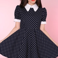 Glitters For Dinner — Made To Order - Navy Polka Dot Alice Dress