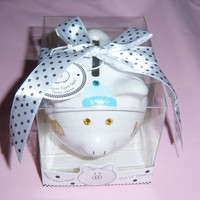 Baby Boy mini ceramic piggy bank  swarovski by MoanasUniqueDesigns