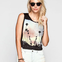 Full Tilt Sunset Palms Womens Lace Back Tank Black  In Sizes