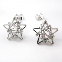 Mini 3D Starry Night Star Stud Earrings in Silver | dotoly - Jewelry on ArtFire