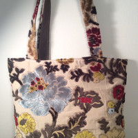 Flocked Velvet Boho Tote Bag with Ivory Lining - READY TO SHIP