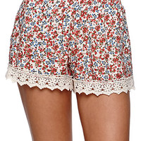 LA Hearts Crochet Trim Shorts - Womens Short - Floral -