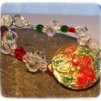 Bracelet Red Green Poinsettia Czech Glass Button Holiday Flower $41.