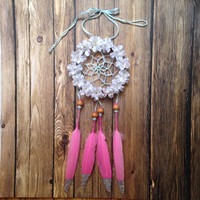 "3"" Floral Pink and Cream Glitter Dream Catcher"