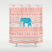 Elephant Blues Shower Curtain by Girly Trend