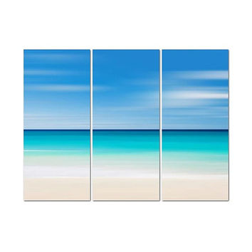 SALE Canvas Beach Decor Triptych Large Wall Art Abstract Navy Blue Aqua Teal Beige Living Room Bedroom Coastal Photography Oversized Print