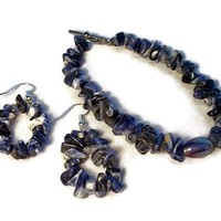 Bracelet and Earrings Set Denim Lapis Nuggets $39.