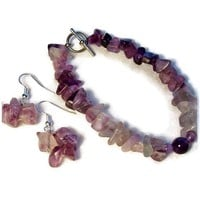 Bracelet and Earrings Set Ombre Chunky Fluorite Purple Violet Green $39.