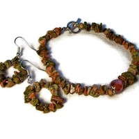 Bracelet and Earrings Set Greens Orange Unakite Handmade $39.