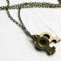 You and me Necklace - Antique Brass Sex Symbols Necklace