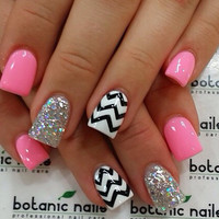 Chevron and Glitter False Nails Set 10g Nail glue included