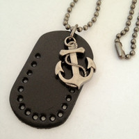 Nautical Anchor with Black leather Tag Charm by pier7craft on Etsy