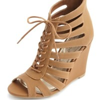 CAGED CUT-OUT LACE-UP WEDGES