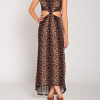 Leopard Print Tank Cut Out Maxi in Brown