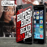 Keep Hopes High and Head Down Low Quote A Day To Remember Design for Samsung galaxy s3, s4, s5 and Iphone 4 , 4s , 5 ,5s , 5c