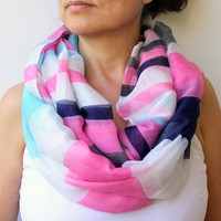 NEW ! Neon Pink Deep Blue Mint Blue White Striped Scarf Spring Scarf Geometric Infinity Scarf Eternity Scarf