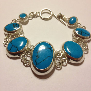 "Sterling Turquoise Bracelet 8.5"" Silver 925 Mexico Mexican 28 Grams Cocktail Vintage Jewelry Blue Boho Southwestern Tribal Gift Huge Oval"