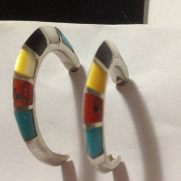 Turquoise Red Coral Hoops Inlay Earrings Navajo Sterling Silver 925 Onyx MOP Pearl Blue Black White Yellow Vintage Southwestern Jewelry Gift
