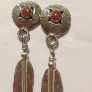Red Coral Earrings Navajo Petit Point Sterling Silver 925 Feather Shadowbox Vintage Tribal Southwestern Native American Indian USA Jewelry