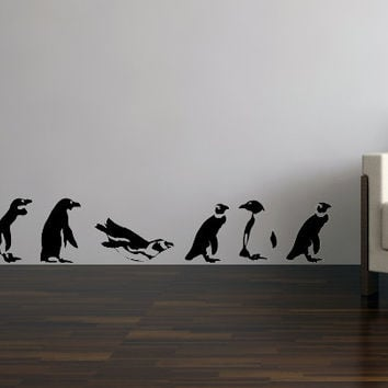 Marching Penguins Vinyl Wall Sticker