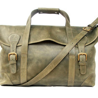 luggage bag Green leather bag weekend bag military by abizema
