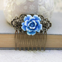 Blue Rose Comb Something Blue Bridal Hair Accessories Flowers For Hair Brass Filigree Comb Romantic Vintage Style Floral Hair Slide
