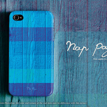 Apple iphone case for iphone iphone 5 iphone 5s iphone 5c iphone 4 iphone 4s  : Blue stripe pattern blue wood (not real wood)