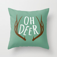Deer Throw Pillow by Ashley Hillman