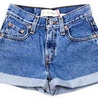 Cuffed Rolled-up High Waisted Shorts - Vintage Shorts