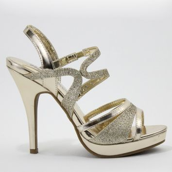 Jilly by Night Moves Metallic Strappy Heels