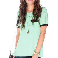 Over the Edge Chiffon Top in Mint Green :: tobi