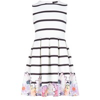 Girls white stripe flower skater dress