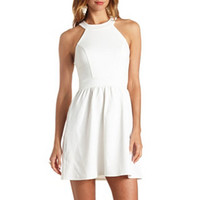 TEXTURED BOW-BACK SKATER DRESS