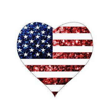 USA flag red & blue sparkles glitters print sticker by PLdesign