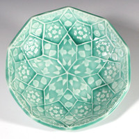 Emerald Green Soap Dish - Lotus Flower