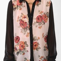 Sheer Floral Print Shirt