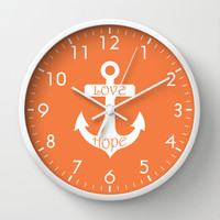 Love Hope Anchor Celosia Orange Wall Clock by BeautifulHomes | Society6