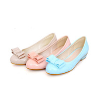 4648 Women Ladies Casual Comfort  3 Candy Colors Bow Low Heel Shoes 32-43