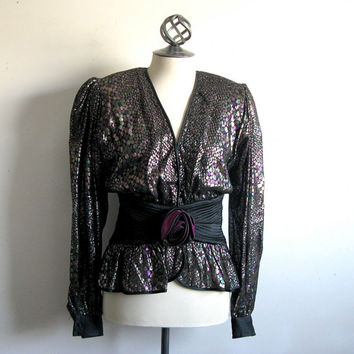 Black Multi-Color Metallic Evening Blouse Anna Ciona for Beker Vintage 1980s Top 8