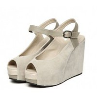 Wholesale Joker fashionable simple color matching fish mouth wedges SY-C0696 apricot - Lovely Fashion