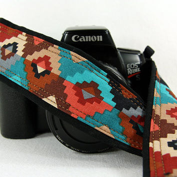 Southwestern Tribal dSLR Camera Strap, 169, Terracotta, Turquoise, Aqua,Tan, Brown, Black, Coral, SLR