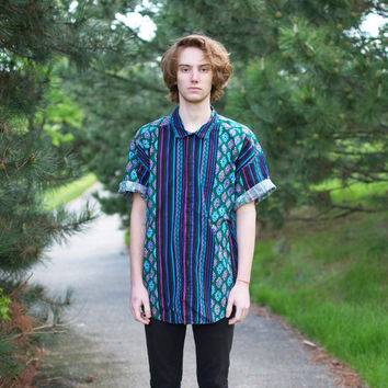 90's Aztec Stripes Button-Up Shirt