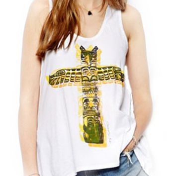 Womens Casual Slim Fit Indian Cross Totem Pole Print Tank Top